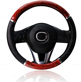 Steering Wheel Cover Black and Wood - Zone Tech Premium Quality Classic Black with Wood Grain Style Cover Standard Size Auto Steering Wheel