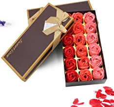Red Soap Rose Flower, Natural Preserved Rose Soap in Gift Box, Gift for Anniversary Birthday Wedding Mother's Day Valentine's Day,18Pcs