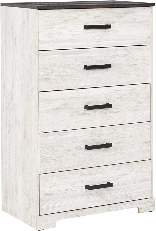 Signature Design by Ashley Shawburn Modern Farmhouse Chest of Drawers, Two Tone White & Dark Gray
