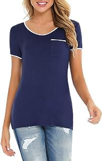 Akalnny T Shirt Donna Cotone Pizzo Maglietta Donna Maniche Corta Lunga Estiva Casual Blusa T-Shirt Ragazza Top Elegante