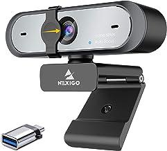 USB Webcam with USB C Adapter, NexiGo 60FPS 1080P Webcam with Microphone, AutoFocus, Privacy Cover, Thunderbolt 3 to USB ...