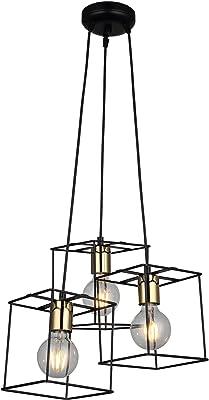 Homemania 1523-83-03 Lampada a Sospensione Mako Nero, Oro Metallo, 35 x 35 x 117 cm, 3 x E27, 40W