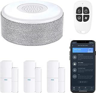 tolviviov Sistema de alarma de puerta WiFi, sistema de alarma inteligente para el hogar, alerta de teléfono, kit de 5 piez...