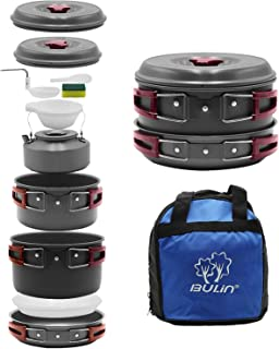 Bulin Camping Cookware Mess Kit Outdoor Backpacking Hiking Gear Cooking Equipment, Lightweight Compact Durable Cook Set