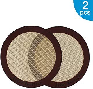 Silicone Baking Mats, 2-Pack Non-stick Silicone Baking Sheet Liner, Reusable Heat Resistant Baking Pastry Sheets for Bake Pans/Rolling/ Macaron/Cookie (Round 9