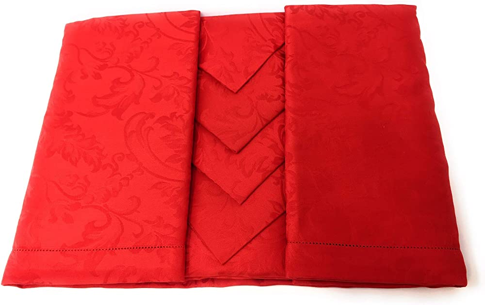 Piazza pitti ,elegante tovaglia da tavola in puro cotone di damasco con 12 tovaglioli,180x280 cm Manuela
