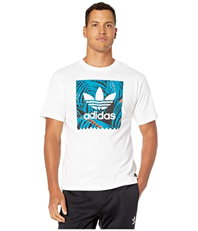 adidas Skateboarding BB Print Tee 2 (White/Active Teal/Active Orange) Men