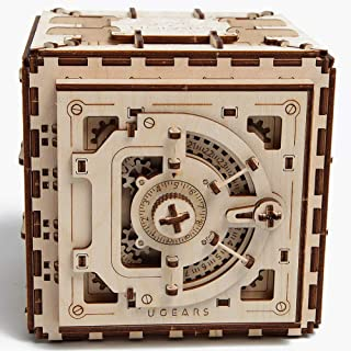 Ugears Mechanical 3D Safe, Valentine`s Gifts, Adult Puzzle, Wooden Brain Teaser, Kids And Teens IQ Game