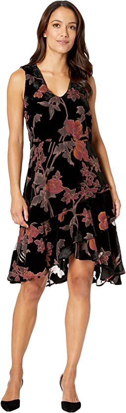 Floral Burnout Fit and Flare Party Dress