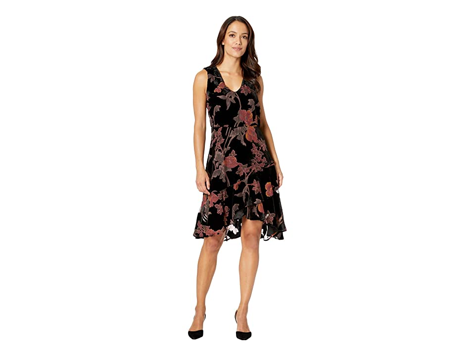 eci Floral Burnout Fit and Flare Party Dress (Black/Pink) Women