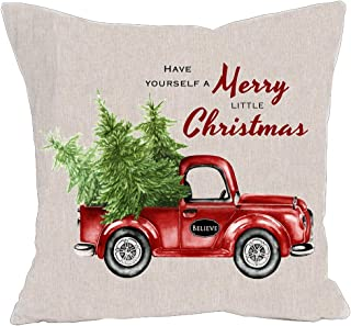"""KACOPOL Christmas Decorations Pillow Covers Christmas Tree and Vintage Red Car Farmhouse Home Decorative Cotton Linen Throw Pillow Case Cushion Cover for Sofa Couch 18"""" x 18"""" (Merry Christmas)"""