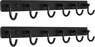 WEBI Wall Mounted Coat Rack,4 Hooks for Hanging,Coat Hanger Wall Mount,Hook Rack for Jacket,Backpack,Clothes,Black,2 Packs