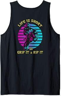 Life Is Short So Grip It & Rip It Vintage Biker Motocross Tank Top