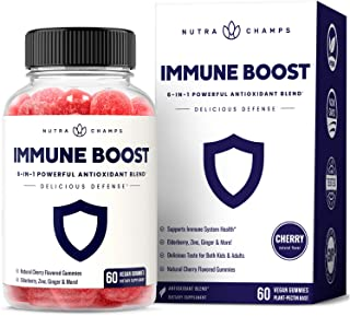 Immune Boost Gummies for Kids & Adults - Powerful 6-in-1 Immunity Booster Support with Elderberry Extract, Vitamin C, Zinc...