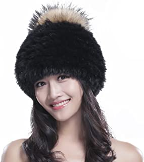 Knit Rex Rabbit Fur Hat Women's Beanies with Fox Fur Pom Pom