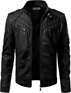 Mens Long Sleeve Premium Stand Collar Zip Up Faux Leather Jacket - Unbranded