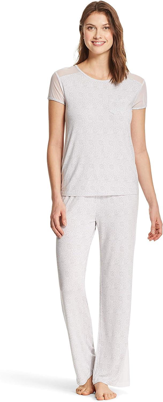 Kathy Ireland Womens Lightweight Shirt Long Pants Pajama Lounge Sleep Set Grey Medium