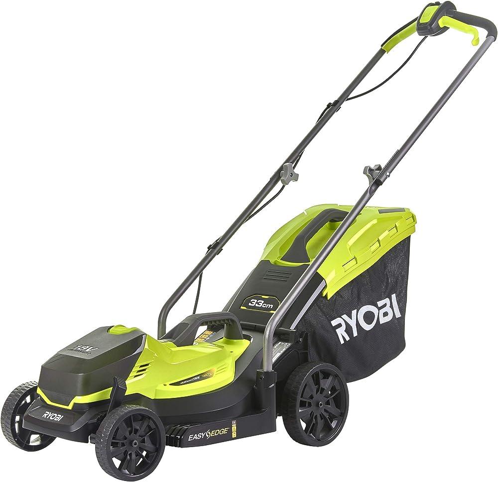 Ryobi 5133004306 - Cortacésped (ancho de corte 33 cm, altura de corte ajustable, con bolsa de 35 L + cuña para mantillo, con batería) RLM18X33B40