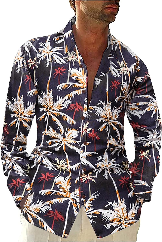 Men's Cotton Linen Henley Shirts Casual Long Sleeve Stylish Loose Lightweight Tropical Henley Shirt Autumn Casual Tee