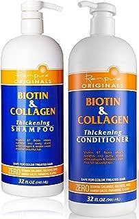 Renpure Originals Biotin & Collagen Thickening Shampoo And Conditioner Set 32 Oz (Zero Sodium Chloride, Sulfate, Dyes Harsh Salts, Parabens, Gluten)