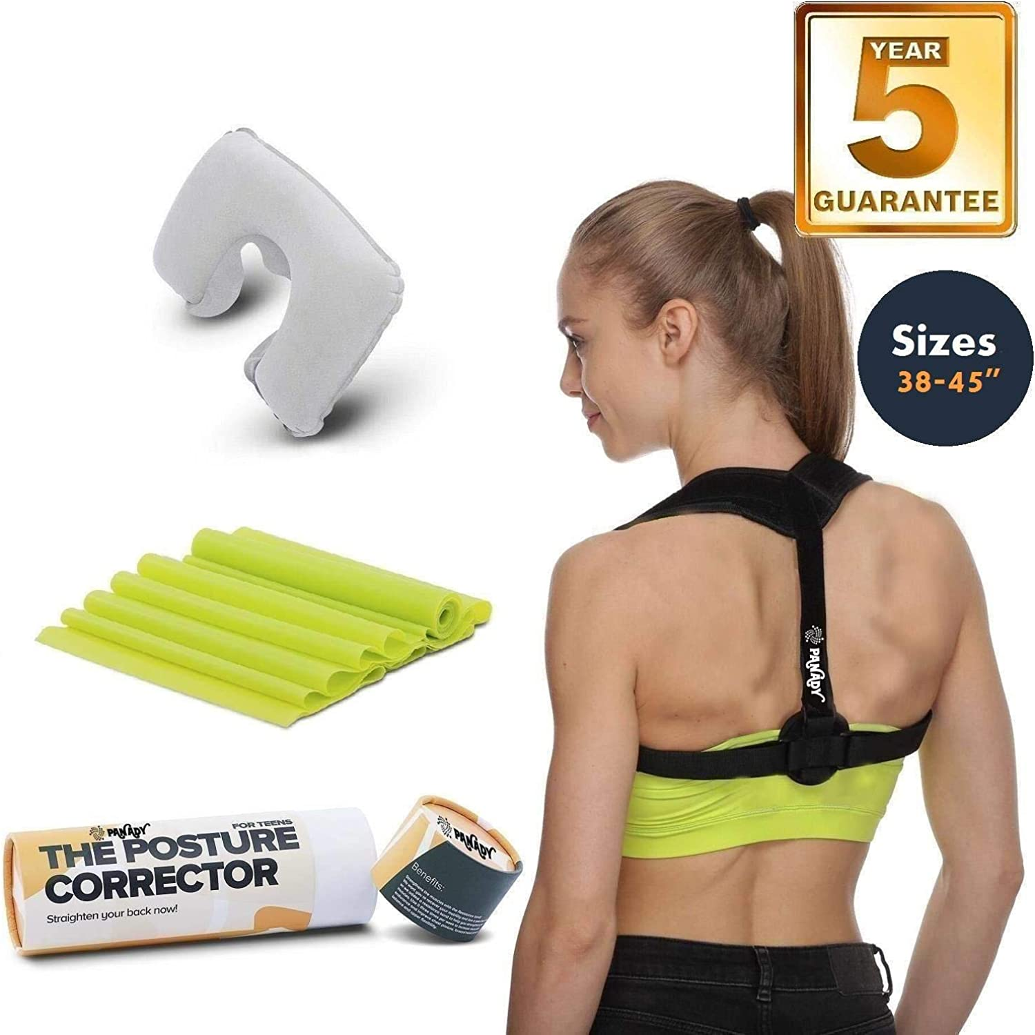Posture Corrector Back Brace with Adjustable Straightener for Teens Men & Women Posture Corrector Comfortable Orthopedic Clavicle Support Sizes  35-48  and 25-36  Comfortable with 5 Years Warranty