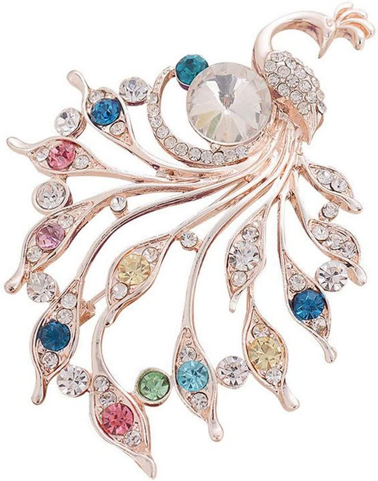 Comelyjewel Brooch Pin Women's Peacock Color Rhinestones Breastpin for Wedding/Banquet/Bouquet