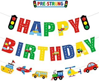 Transportation Happy Birthday Banner Car Bus Train Plane Ship Helicopter Traffic Light Photo Props Garland for Kids Transportation Theme Birthday Party Decorations Baby Shower Supplies
