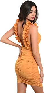 Imaginary Diva Sexy Mustard Fitted Stretch Ruffle Open Back Party Clubwear Dress