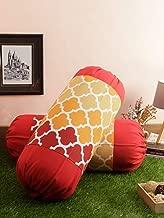 "Soumya Mix n Match Cotton Check Design Orange Color Bolster Cover, 2 pc Bolster Cover, Dia-9"" x Length-24"