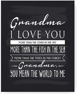 "Ocean Drop Designs - ""Grandma"" Poem Chalkboard Typography Wall Art - Print Only, No Frame - Meaningful & Elegant - Unique Gift & Poem for Grandma (8""x10"")"