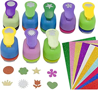 8 Pieces Paper Punchers Craft Holes Punch Scrapbook Punches 10 Sheets Glitter Sticker Paper, Round, Star, Heart, Rose, Flo...