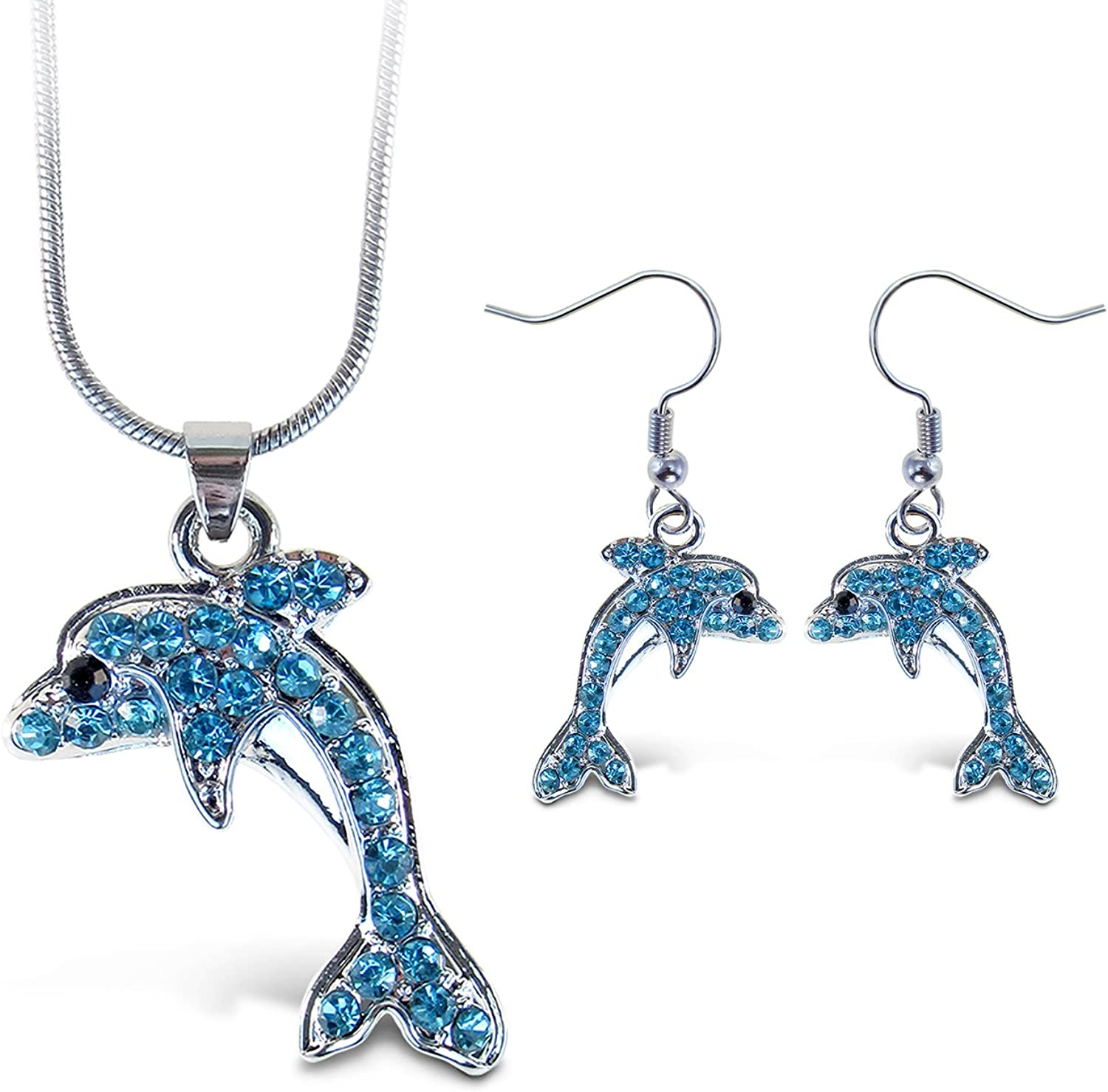 Puzzled Sparkling Dolphin Necklace and Earrings Set Charming Necklace and Earring Set - Ocean Sea Life Theme - Aqua Jewelry Always Unique Gift - Item #K6301-6351