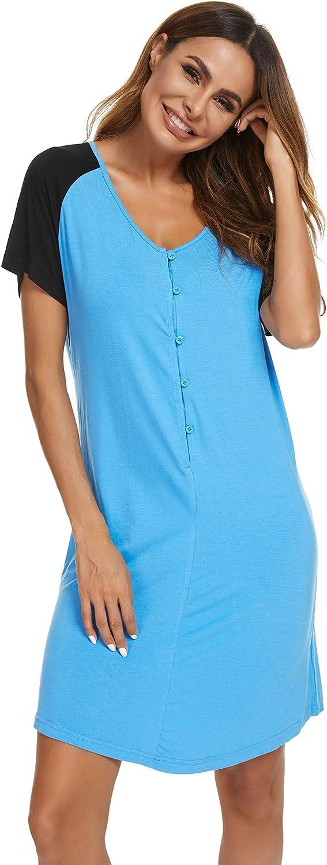 Womens Short Sleeve Nightshirt, V-neck Pajama Dress Button Down Nightgown Loose Comfy Sleepwear Sleep Shirt Tee