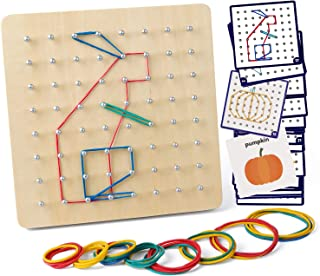 Coogam Wooden Geoboard Mathematical Manipulative Material Array Block Geo Board – Graphical Educational Toys with 30Pcs Pa...