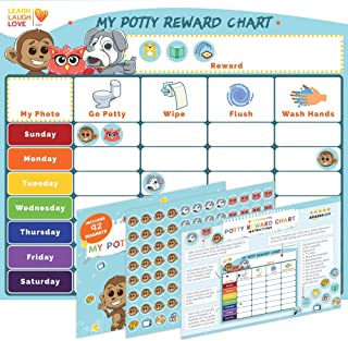 Potty Training Chart for Girls, Boys, Multiple Kids by Learn Laugh Love Kids - Potty Reward Chart for Toddlers Motivates & Rewards Potty Training Activities - Magnetic Potty Chart with Fun Magnets