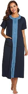 Ekouaer Women's Long Robe Zipper- Front Long Sleeve Loungewear with 2 Pockets Long Bathrobe Nightshirts Robe S-XXL