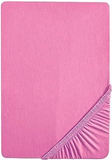 Biberna 77155/173/040 Drap Housse en Jersey Stretch pour un Lit Simple Rose 90 x 190 cm à 100 x 200 cm