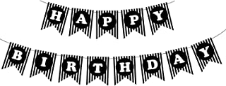 Black Happy Birthday Party Banner Flag Decorations