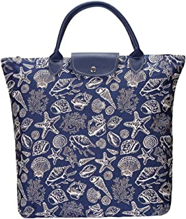 Sea Shell Fold Away Shopping Bag   Enviromental Collapsible Grocery Shopper Compact Tote by Signare