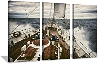 Hardy Gallery Ocean Artwork Nautical Art Picture: Sailboat Sailing Print on Canvas for Office Wall Decor (26''X16''x3pcs)