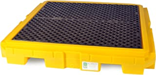 UltraTech 9631 Premier Polyethylene Ultra-Spill Pallet P4 Plus with Drain, 9000 lbs Capacity, 5 Year Warranty, Yellow