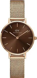 Daniel Wellington Petite Amber Rose Gold Mesh Strap Brown Dial Watch