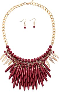 Bohemian Gold Red Bib Collar Necklace Multilayer Feather Long Bead Charm Tassel Pendant Earrings Set