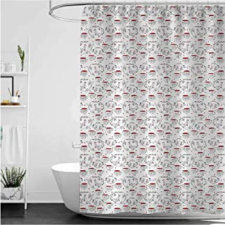 Tea Party Stall Shower Curtain, Doodle Style Crockery Illustration of Floral Patterned Kettles and Cups Heavy Duty Fabric,...