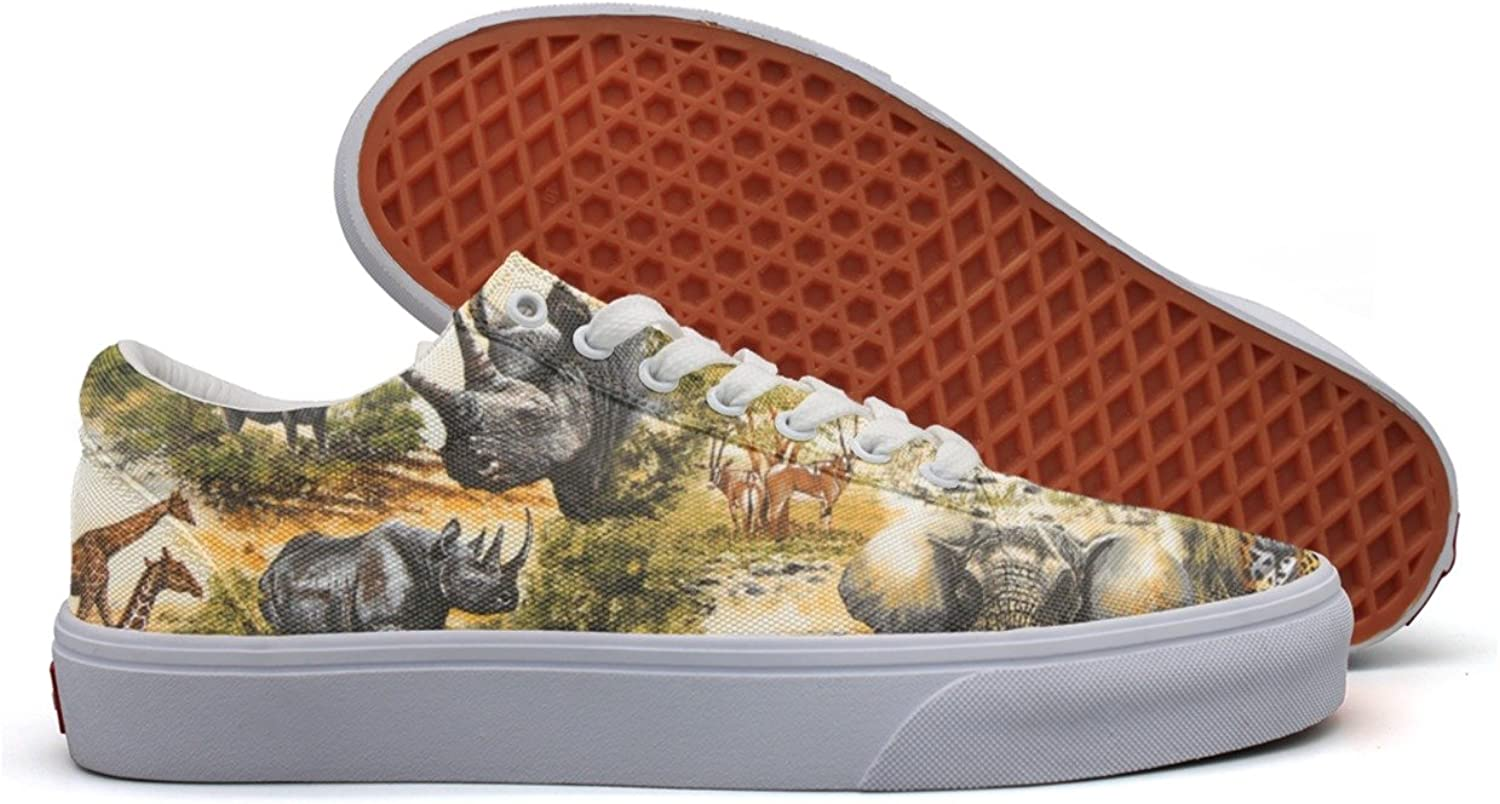 Africa Wild Elephant Giraffe Rhinoceros Women's Casual Sneakers shoes Canvas Lo-Top New Gym