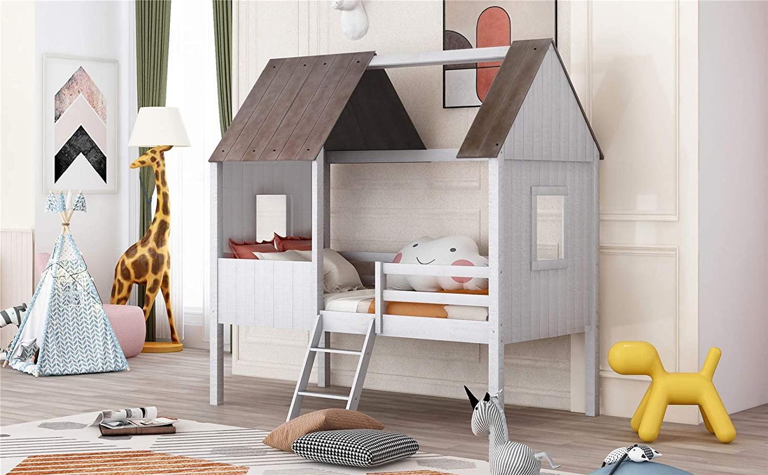 Buy Twin Size Children House Bed Frame Premium Wood Loft Bed Kids Tent Bed Play Tent Comfort Safe Antique White Online In Indonesia B08nd84v7w