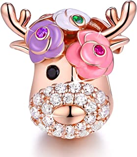 Deer Bead Elk Head Charms fit for Pandora Bracelets 925 Sterling Silver with Cubic Zirconia Jewelry