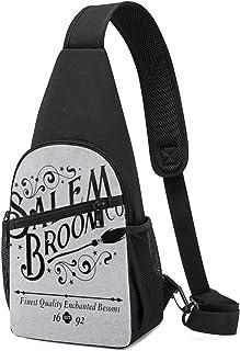 Hdadwy Salem Broom Co Est 1692 Broomstick Emblem Sling Mochila Sling Bag Black Crossbody Daypack Mochila informal Bolsa de...
