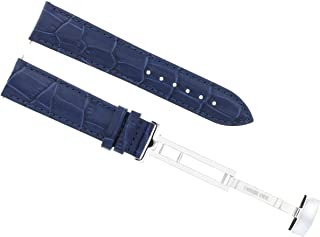 19MM LEATHER WATCH STRAP BAND DEPLOYMENT CLASP BRACELET GIRARD PERREGAUX BLUE