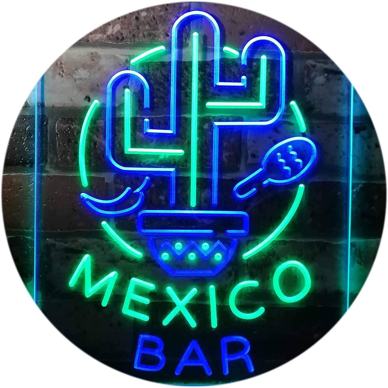 ADVPRO Mexico Bar Cactus Display Restaurant Open Dual Farbe LED Barlicht Neonlicht Lichtwerbung Neon Sign Grün & Blau 12  x 16  st6s34-i3190-gb